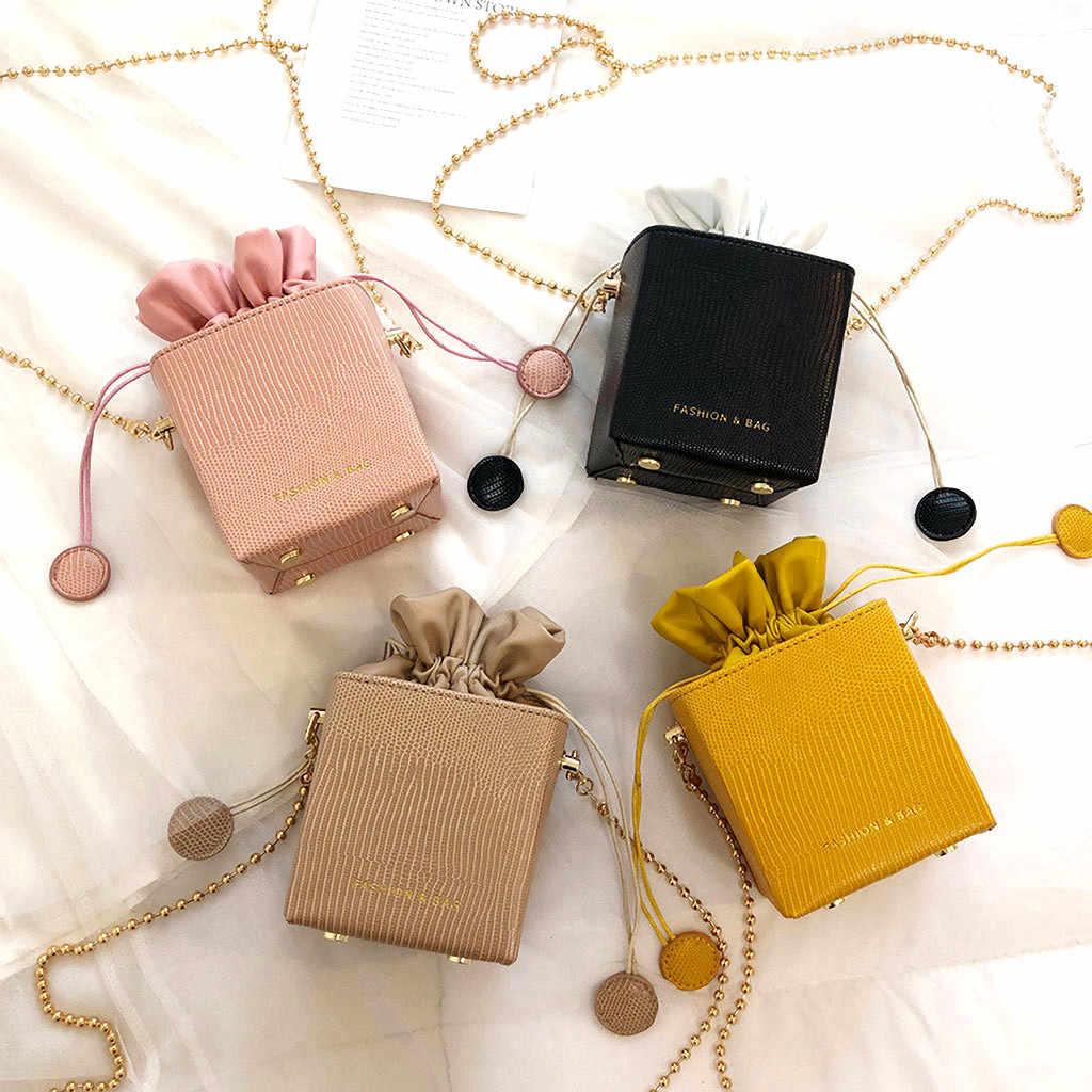 Sacos de balde pequenos para as mulheres 2019 simples all-purpose drawstring chain ombro quadrado único mensageiro sacos sac a main femme