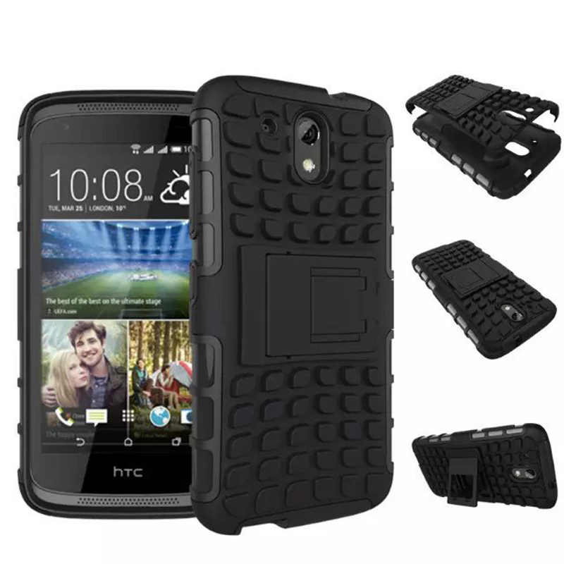 new arrival 53608 1a511 For HTC Desire 526 Case Rugged Rubber Armor Hard PC and TPU Hybrid  Kickstand Cover Mobile Phone Case For HTC Desire 526G+
