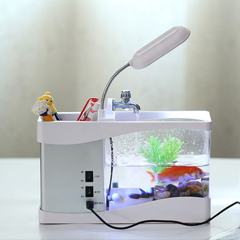 LED affichage à cristaux liquides aquarium mini Aquarium usb réservoir de poisson affichage temps aquarium aquarium réservoir de poissons blanc/noir