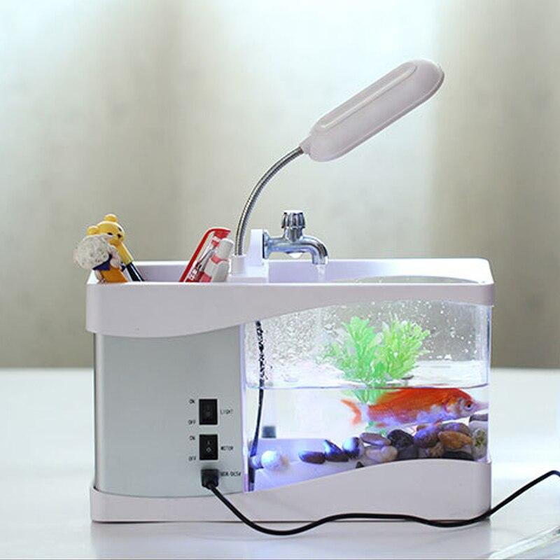 LED affichage à cristaux liquides aquarium mini Aquarium usb réservoir de poisson affichage temps aquarium aquarium réservoir de poissons blanc/noir