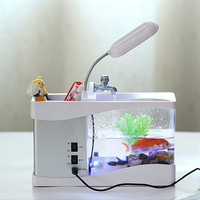 LED liquid crystal display aquarium mini Aquarium usb fish tank display time fish tank aquarium fish tank White/Black
