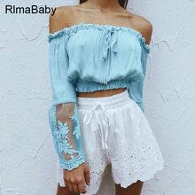 RlmaBaby Blue Chiffon Off Shoulder Flare Sleeve Femme Lace Blouse Summer Sexy Beach Party Lace Up Blusas Women Tops Blouses