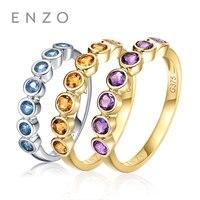 ENZO 0,32 Ct Природный Подлинная цитрин/Аметист/синий топаз кольца 9 К белый/желтый Золотое кольцо Fine ювелирные изделия