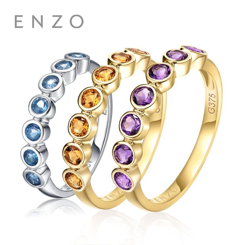 ENZO 0.32 Ct Naturel Véritable Citrine/Améthyste/Bleu Topaze Anneaux 9 k Blanc/Or Jaune Anneau Amende bijoux