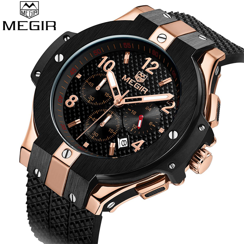 цены на Top Brand MEGIR Mens Chronograph Sport Watch Creative Big Dial Army Military Quartz Watches Men Wrist Watch Relogio Masculino в интернет-магазинах