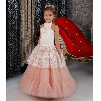2020 New A-Line Organza Halter Flower Girls Dresses Sleeveless Off the Shoulder Wedding Party Dress Appliques Lace For Girls