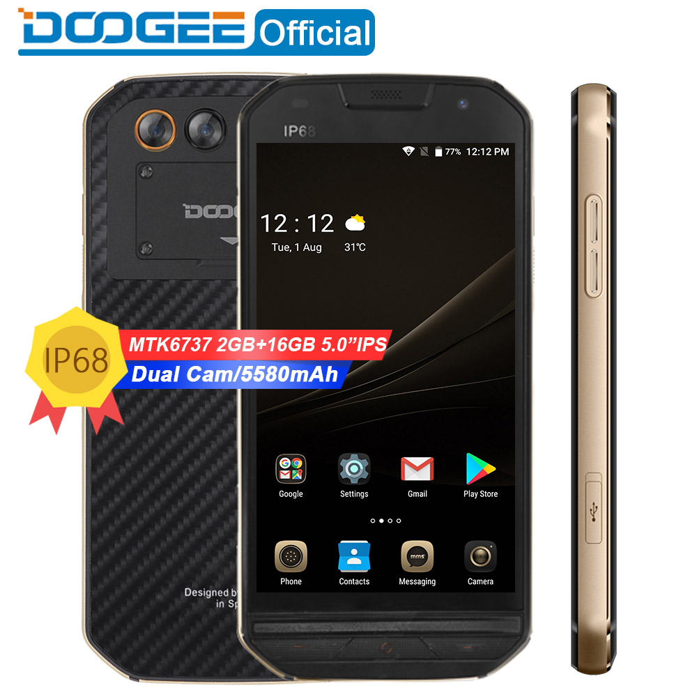 "DOOGEE S30 IP68 Waterproof 5580mAh Side fingerprint Dual camera 5V/2A 5.0""HD Android 7.0 2GB RAM 16GB ROM Smartphone MTK6737"