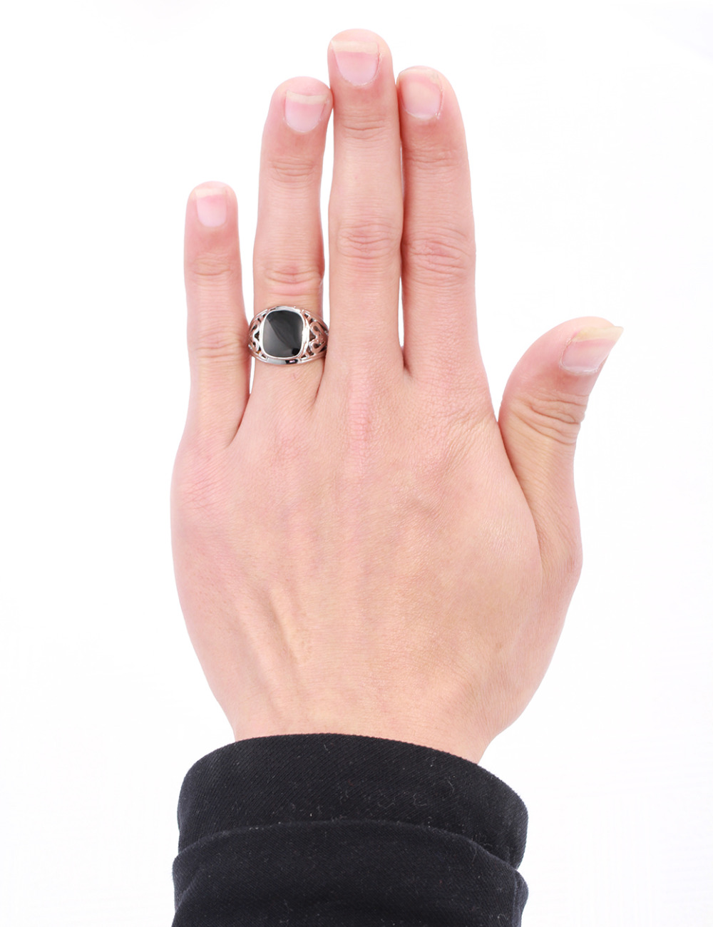 White Gold Color Square Black Signet Cut Out Filligree Vintage Ring ...