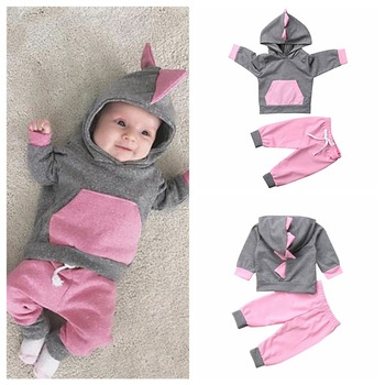 Baby Girls cute  Dinosaur Hoodie Sweatshirt Tops Trousers Casual Outfits Clothes baby girl autumn clothes