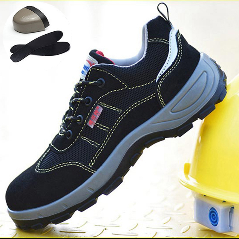 Men's Steel Toe Work Safety Shoes Breathable Anti-smashing Anti-puncture Non-slip Construction Protective Footwear