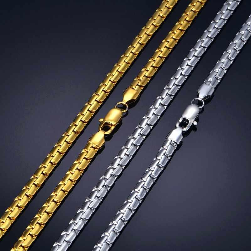 """رجل سلسلة 6 مللي متر قلادة طويلة للرجال 20 """"23"""" 26 """"الذهب اللون الفولاذ المقاوم للصدأ شقة سلسلة القلائد سلسلة رجالية قلادة"""