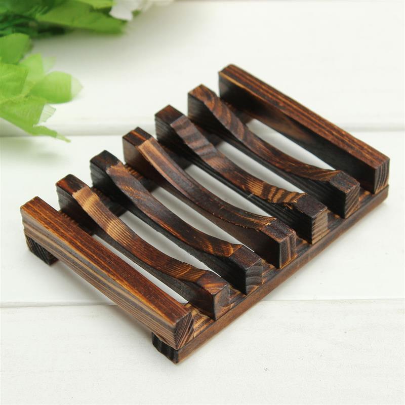 Handmade Wooden Bathroom Wood Soap Dish Box Container Kitchen Tub Sponge Storage Cup Rack Holder