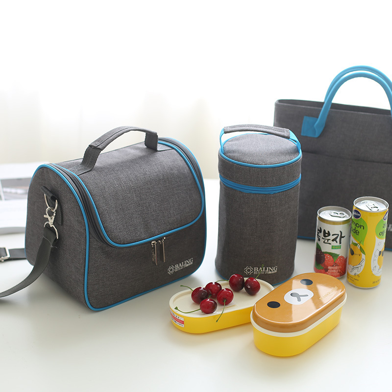 lunch bag new fashion high quality Gray blue minimalist thermo food insulated bag casual travel picnic bag thermal lunch box in Lunch Bags from Luggage Bags