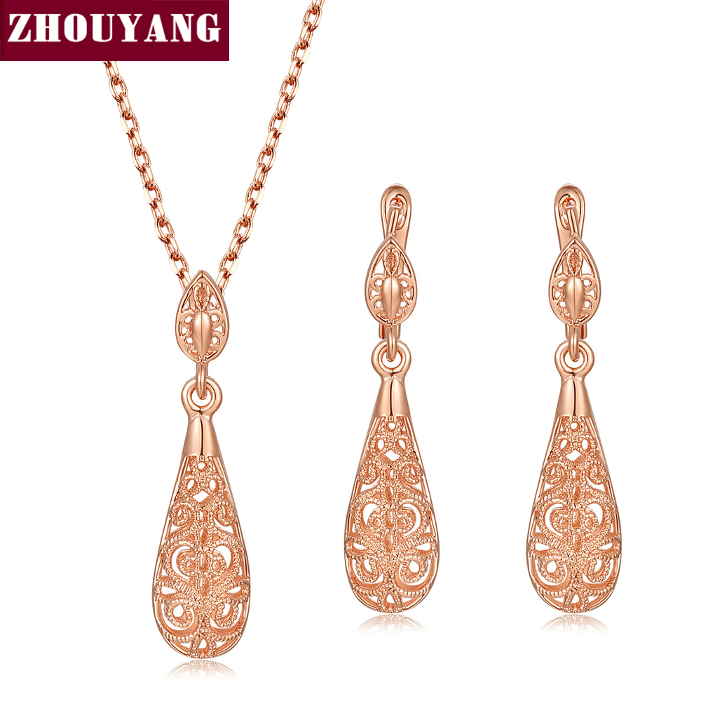 Classic Hollowed-out Water Drop Rose Gold Color / Sivler Color Fashion Jewelry Sets Necklace+Earring Wholesale ZYS381 ZYS382 stylish rhinestoned water drop rose gold plating necklace