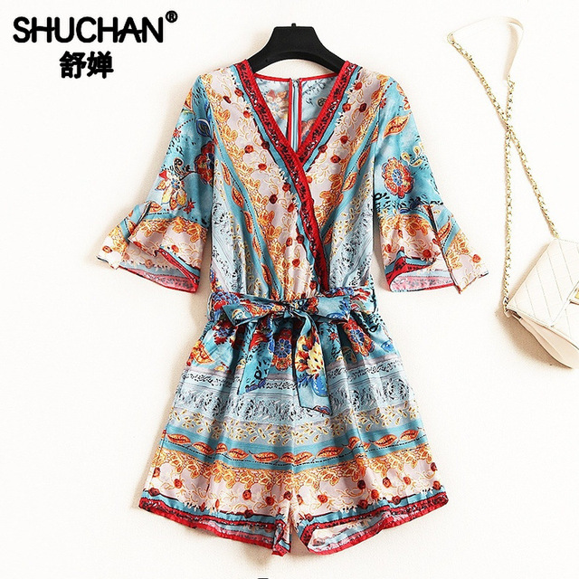 Shuchan Women Jumpsuit Beach Style Geometric Print Chiffon Rompers Womens Playsuits with Short Sleeve V-neck Clothing 12033