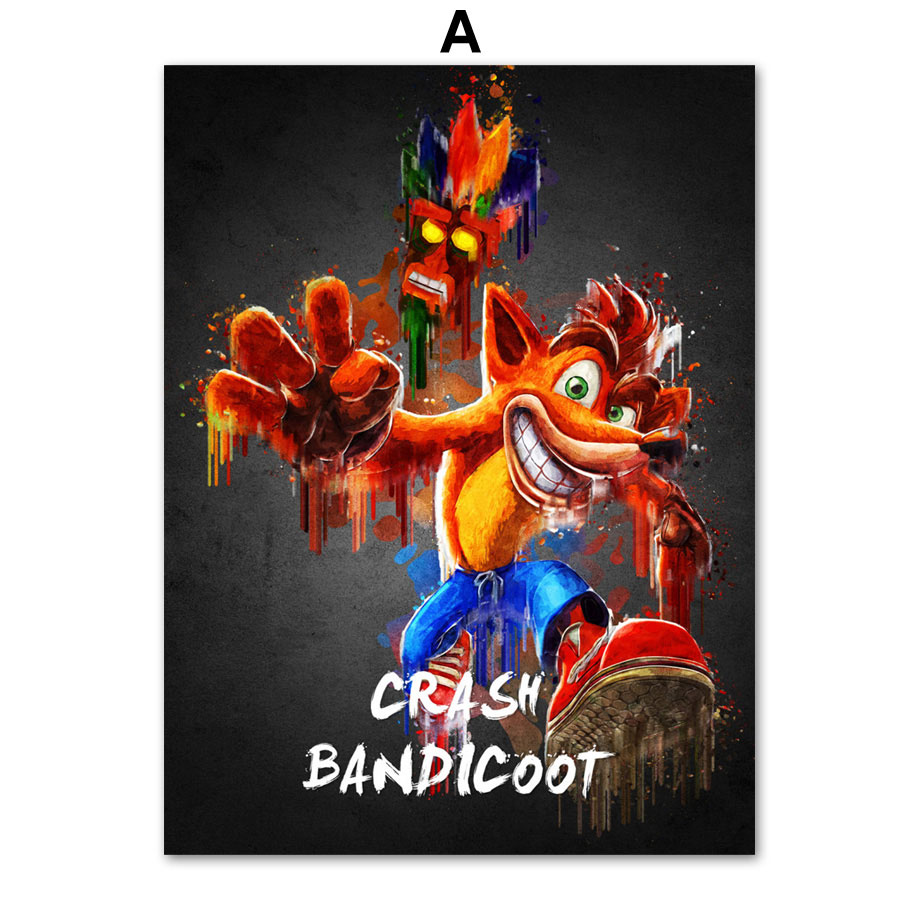 Super Mario PUBG Nier Automata Crash Bandicoot Game Wall Art Canvas  Painting Posters And Prints Wall Pictures For Living Room