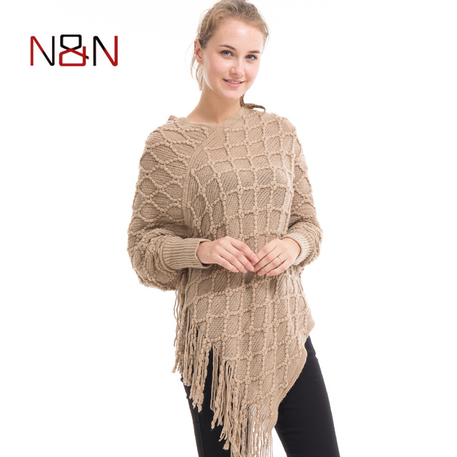01a1d057ca7 Casual Knitted Women Poncho Plus Size Solid And Striped Sweater Winter Thick  Warm Tassel Sweater Batwing Sleeve PH12