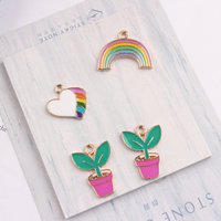 Wholesale 100CPs Colorful Enamel Heart Charms Gold Tone Plated Rainbow Plant Flower DIY Jewelry Necklace Charm