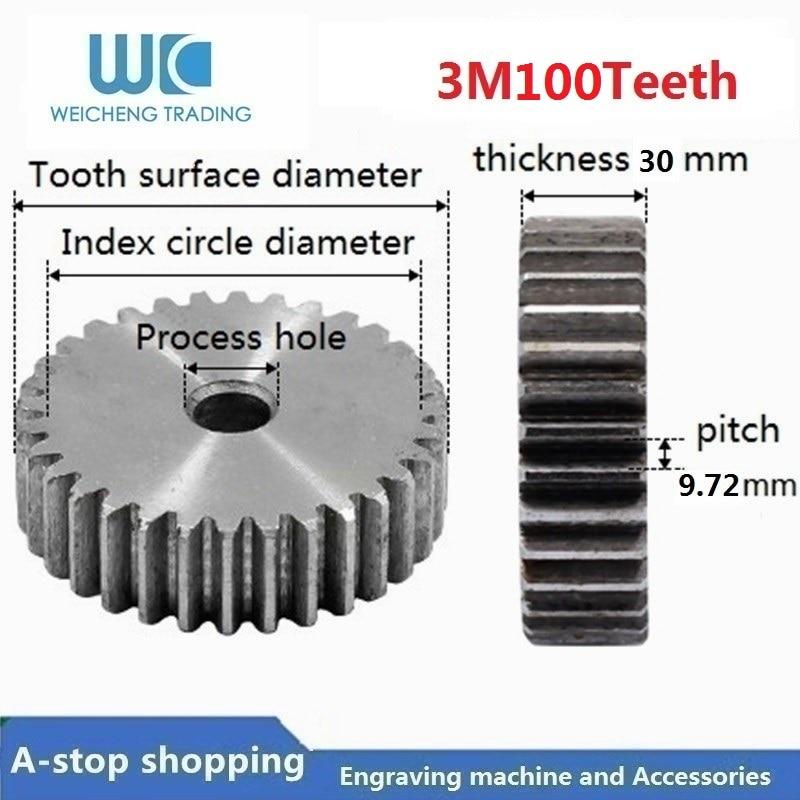3 M 100 dents engrenage droit pignon à crémaillère dents droites en acier 45 # positif avec patron pour la Transmission de CNC