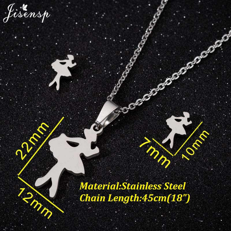 Jisensp Stainless Steel Jewelry Set Wedding Gold Butterfly Ballet Paw Star Necklace Earrings Sets for Woman Bridal Pendientes