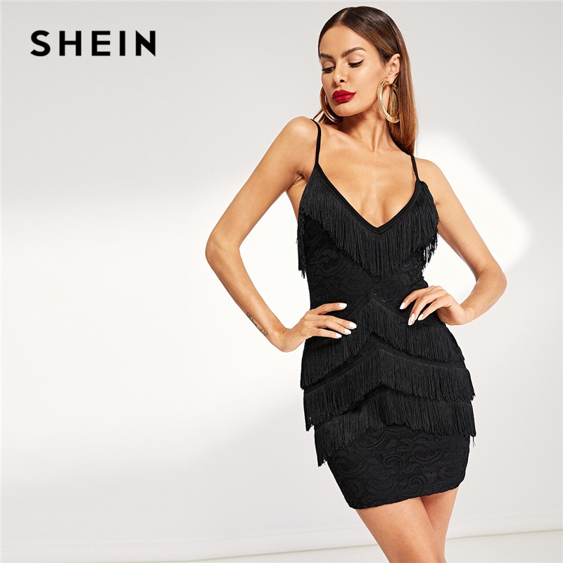 b2a53be8fdd98 SHEIN Purple Elegant Layered Fringe Patched Fitted Cami Party Dress Women  Summer Plain Sleeveless Slim Short Bodycon Dresses