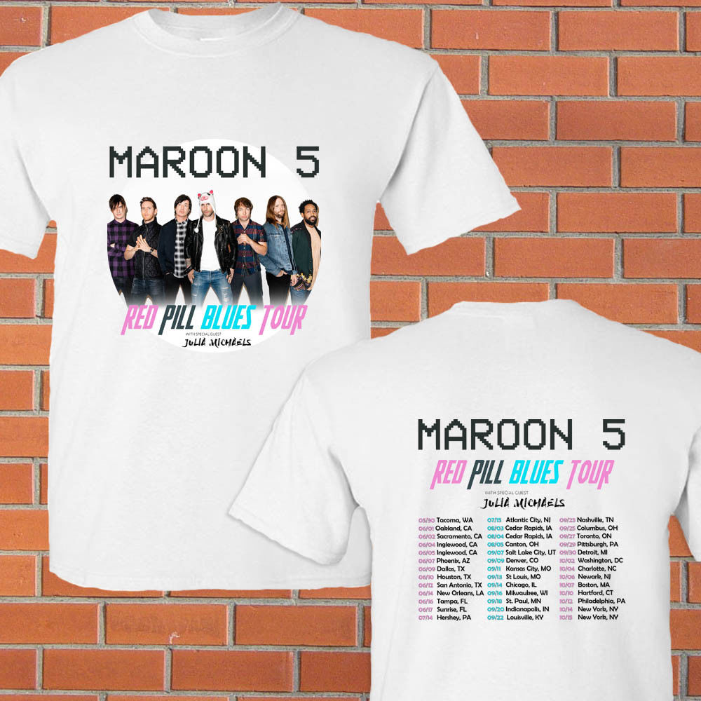 Maroon 5 Red Pill Blues summer tour 2018 white tee shirt S-3XL Summer Style Hip Hop Men T-Shirt Tops 2018 New Arrival Men