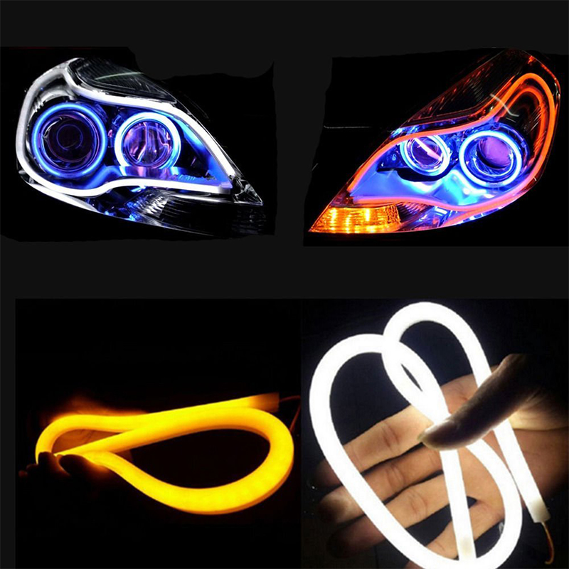 OKEEN 2Pcs 60cm Dynamic Streamer DRL Flexible LED Tube Strip Daytime Running Light Tear Strip Turn Signal Angel Eyes Car Styling 2017 2pcs 30cm led white car flexible drl daytime running strip light soft tube lamp luz ligero new hot drop shipping oct10