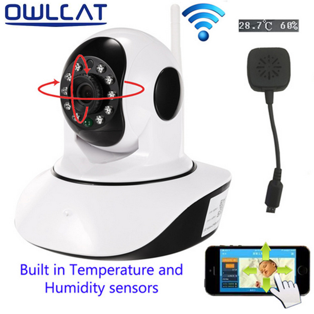 OwlCat HD 720P Wifi IP Camera P/T Night Vision Two Way Audio SD Card Slot Security Camera Wireless Temperature humidity sensor easyn a115 hd 720p h 264 cmos infrared mini cam two way audio wireless indoor ip camera with sd card slot ir cut night vision
