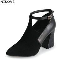 NIKOVE 2018 Women Pumps Shoes Buckle Strap Western Style Crystal Square High Heels Pointed Toe Elegant