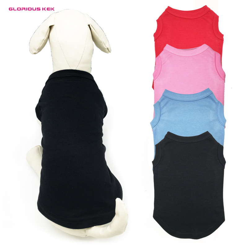 GLORIOUS KEK With Tracking Number Basic Breathable Cotton Plain Dog T Shirt Vest Solid Dog Tank Shirt Blank in Multi-Colors