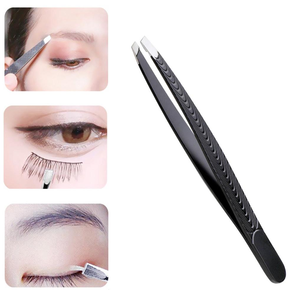 Portable Eyebrow Tweezer Black Slanted Stainless Steel Tweezer Trimmer Eyelash Clip Hair Removal Makeup Tool