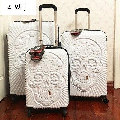 20,24, 28 pouces crâne bagages célèbre marque valise de voyage original 3d coffre voyage bagages Cool crâne valise