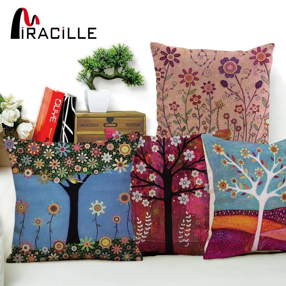 Miracille 18  Cotton Linen Color Tree Print Pillow Bed Sofa Home Decorative Cushion Fundas Para Almofadas Cojines No Inner