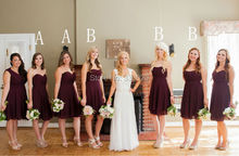 A Line Sweetheart Chiffon Short Layered Burgundy Bridesmaid Dress vestido de madrinha  curto