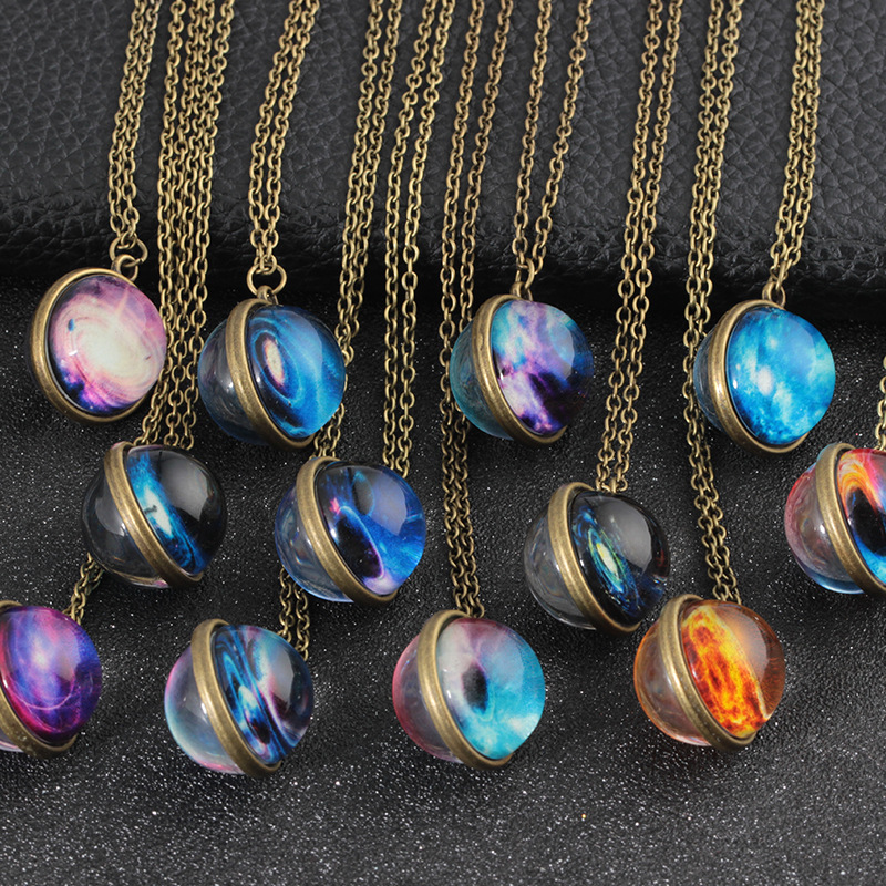 Solar System Necklace Pendant Planet Necklace Galaxy S Double Sided Glass Dome Glass Universe Handmade Custom Star Necklace