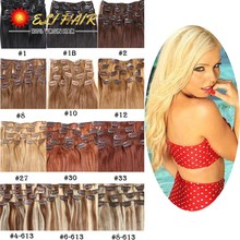 Remy Clip In Hair Extension Brazilian Virgin Hair Clip In Human Hair Extensions Full Head 70g-120g Brazilian Clip ins 20 Colors