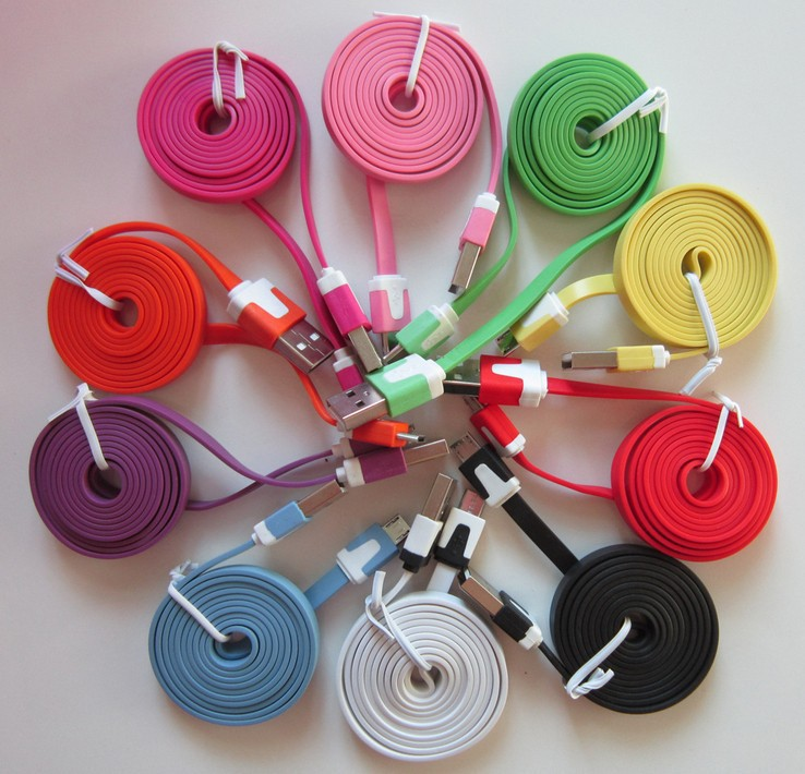1m 3ft Flat Noodle Micro 8pin 30pin USB Data Cable Accessory Bundles Cord for Mobile Phone