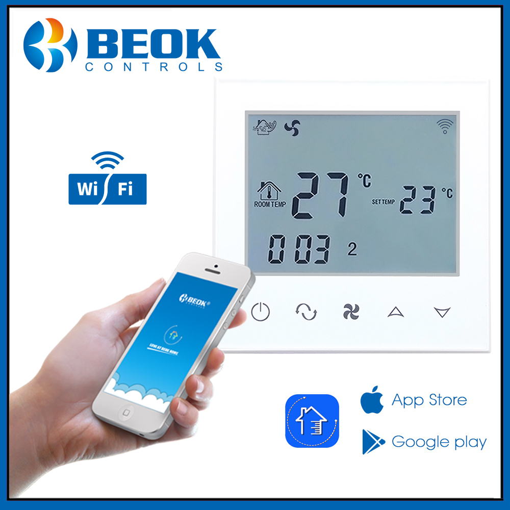 Beok TDS21WIFI-AC Touch Screen Central Air Conditioning Fan Coil Heating Cooling and Ventilation Digital ControllerBeok TDS21WIFI-AC Touch Screen Central Air Conditioning Fan Coil Heating Cooling and Ventilation Digital Controller