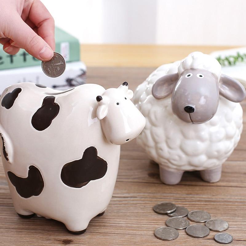 Porcelain Piggy Bank Money Box Coin Jar Coin Saving Pot Children Toy Birthday Gift Money Box Saving Bank in Money Boxes from Home Garden