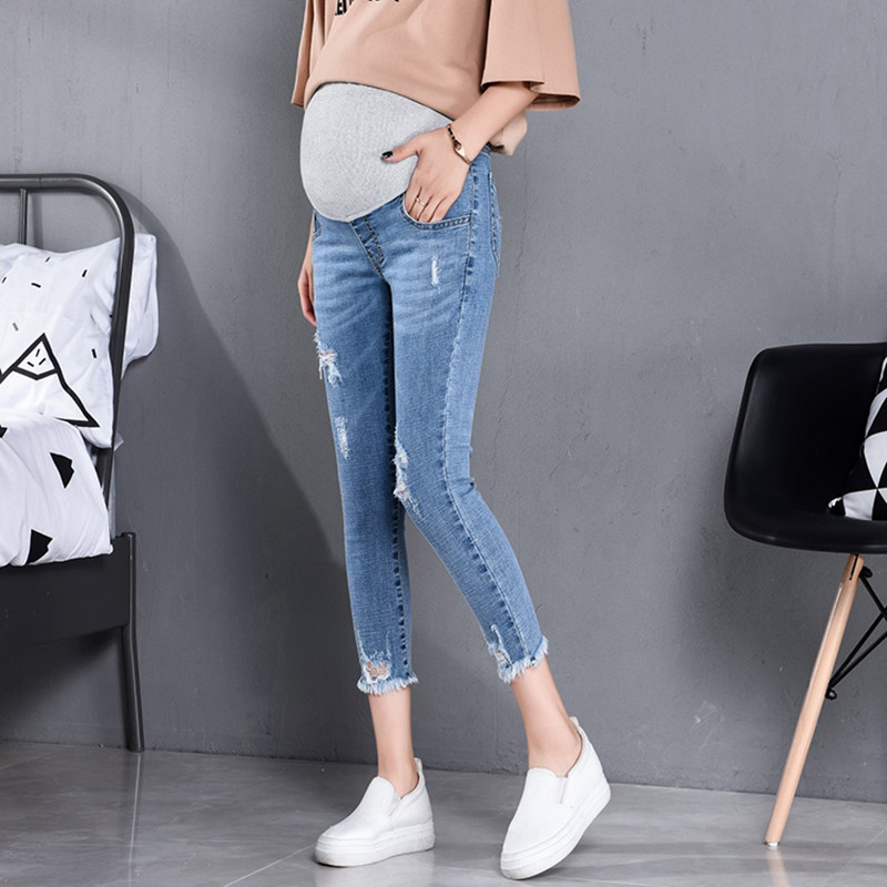 817# 7/10 Length Summer Autumn Fashion Maternity Jeans High Waist Belly Skinny Pencil Pants Clothes For Pregnant Women Pregnancy