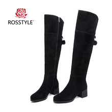 ROSSTYLE 2018 Slim Boots Sexy Over-The-Knee Suede Women Snow Winter High Quality Round Toe Woman Shoes Black Size 35-41 H1
