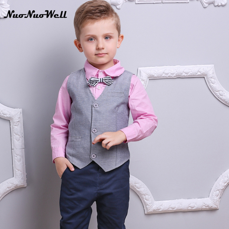 NNW Autumn New Baby Boys Clothes 3pcs Long Sleeve Shirt +Vest+Pants Handsome Gentleman Suits Hot sales Formal Boys Clothing Sets boys clothes brand 2017 autumn boys gentleman set baby boys striped long sleeve shirt denim long overalls pants 2pcs sets 4