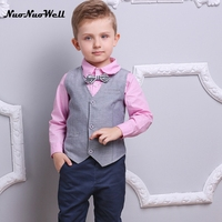 NNW Autumn New Baby Boys Clothes 3pcs Long Sleeve Shirt Vest Pants Handsome Gentleman Suits Hot