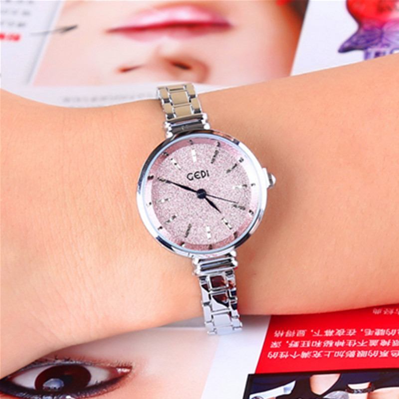 Exquisition Pink Fashion Casual Waterproof Female Watch Quartz  Popular Luxury Dresses Gift for Women Stainless Steel Alloy