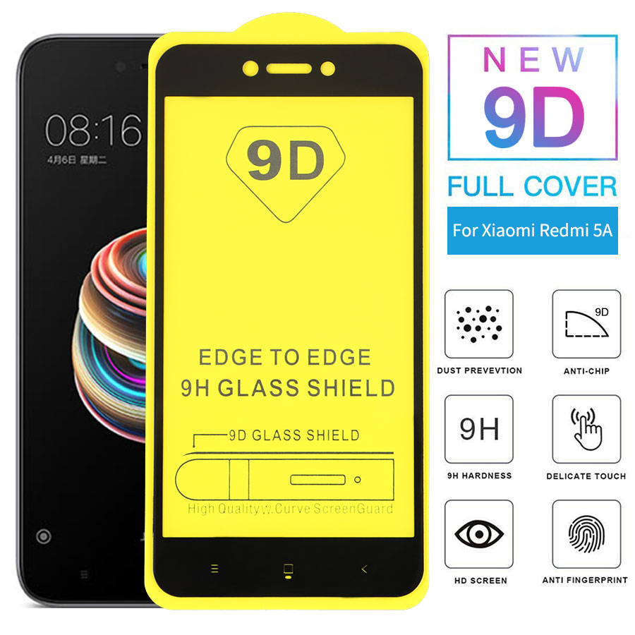 WOLFPSYCH 9D Full Glue Cover Tempered Glass For Xiaomi Redmi 5A Screen Protector Glass Protective Film For Mi Redmi5A