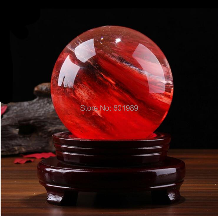 1Pc 10CM Size Natural quartz red Stone Ball Crystal Sphere Decorative synthetic ball Not Include Stand