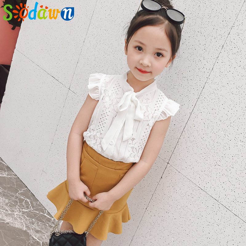 Sodawn Children Clothing Suit 2018 New Fashion Summer Lace Sleeveless Top + Fishtail Dress 2pcs Bbay Girls Clothes Kids Suit