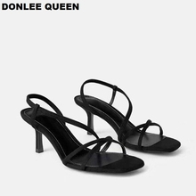 DONLEE QUEEN Black Gladiator Sandals Summer Office High Heels Shoes Woman Ankle Strap Sandal For Party Shoes Women Casual Slides vankaring women summer gladiator sandals real fur leather wedges high heels platform shoes woman dress party casual shoes sandal
