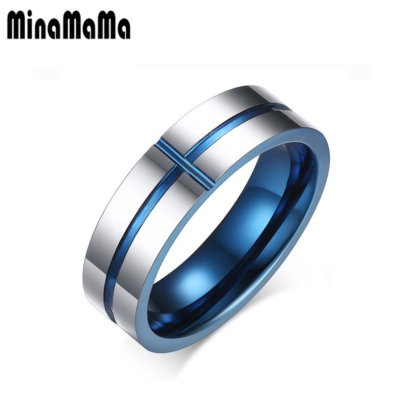 Tungsten Steel Groove Cross Blue Finger Rings Thin Blue Line Tungsten Ring Wedding Pure Tungsten Carbide Rings Blue For Men