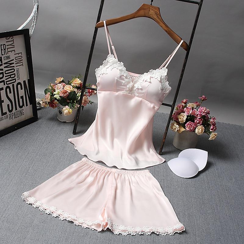 Women's Sleepwear Sexy Satin Pajama Set Lace V-Neck Pyjamas Sleeveless   Top and Shorts Sexy Nightgown With Bra